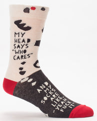 "BlueQ Men's Crew Socks: ""My Head Says 'Who Cares'..."""