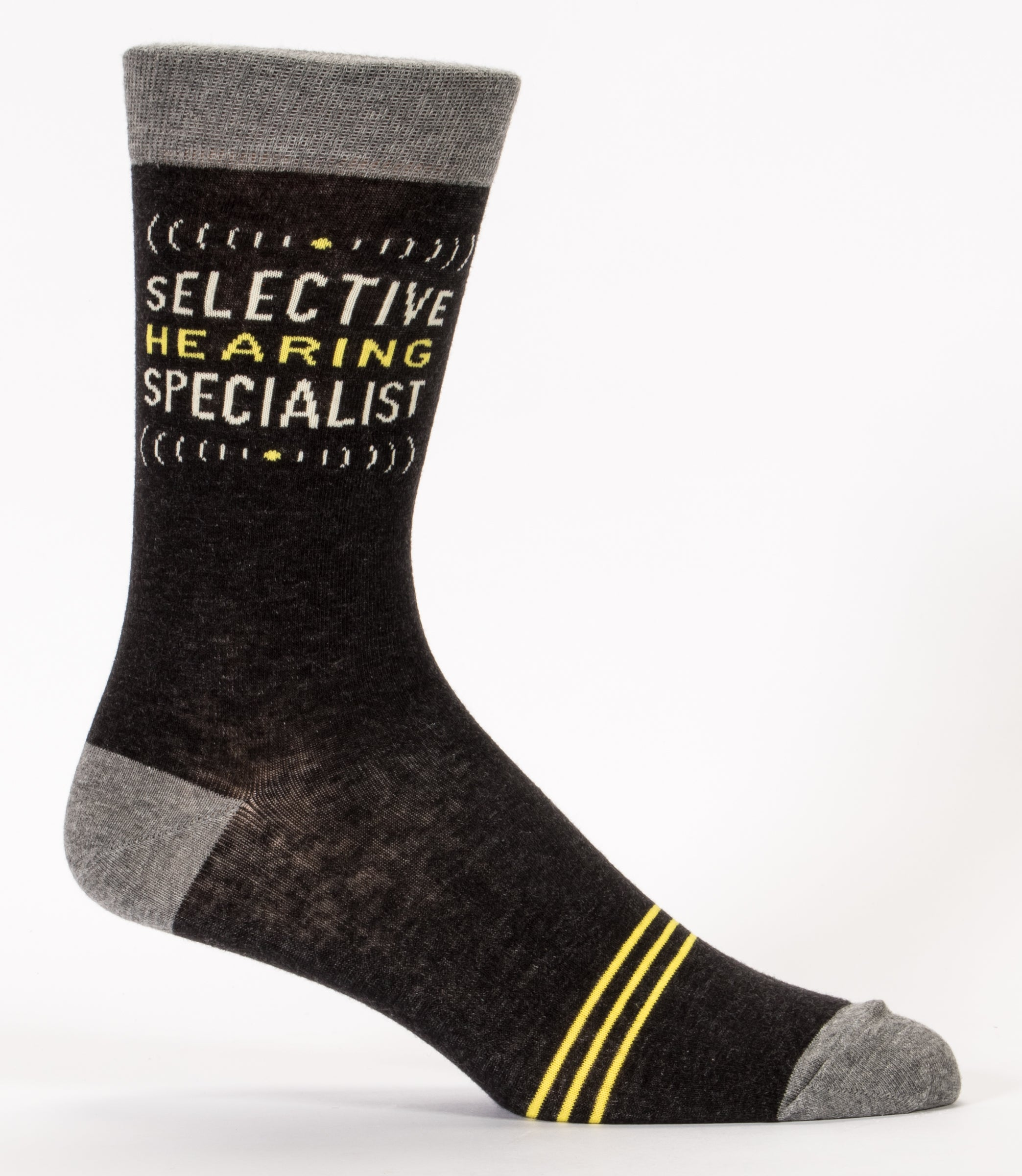 BlueQ Men's Crew Socks: Selective Hearing Specialist