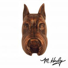 Michael Healy Door Knocker: Oiled Bronze Cast Aluminum Dog Knocker (Schnauzer)