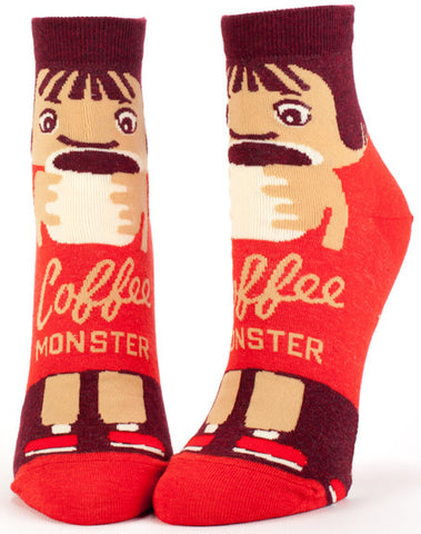 "Woman's novelty funny ankle sock with legend: ""Coffee Monster"""