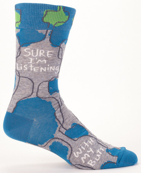 "BlueQ Men's Crew Socks ""Sure I'm Listening..."""