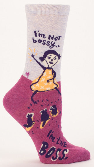 "Woman's novelty fun crew sock with legend: ""I'm Not Bossy, I'm the Boss"""