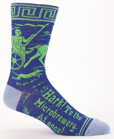 "BlueQ Men's Crew Socks ""Hark! To The Microbrewery At Once!"""