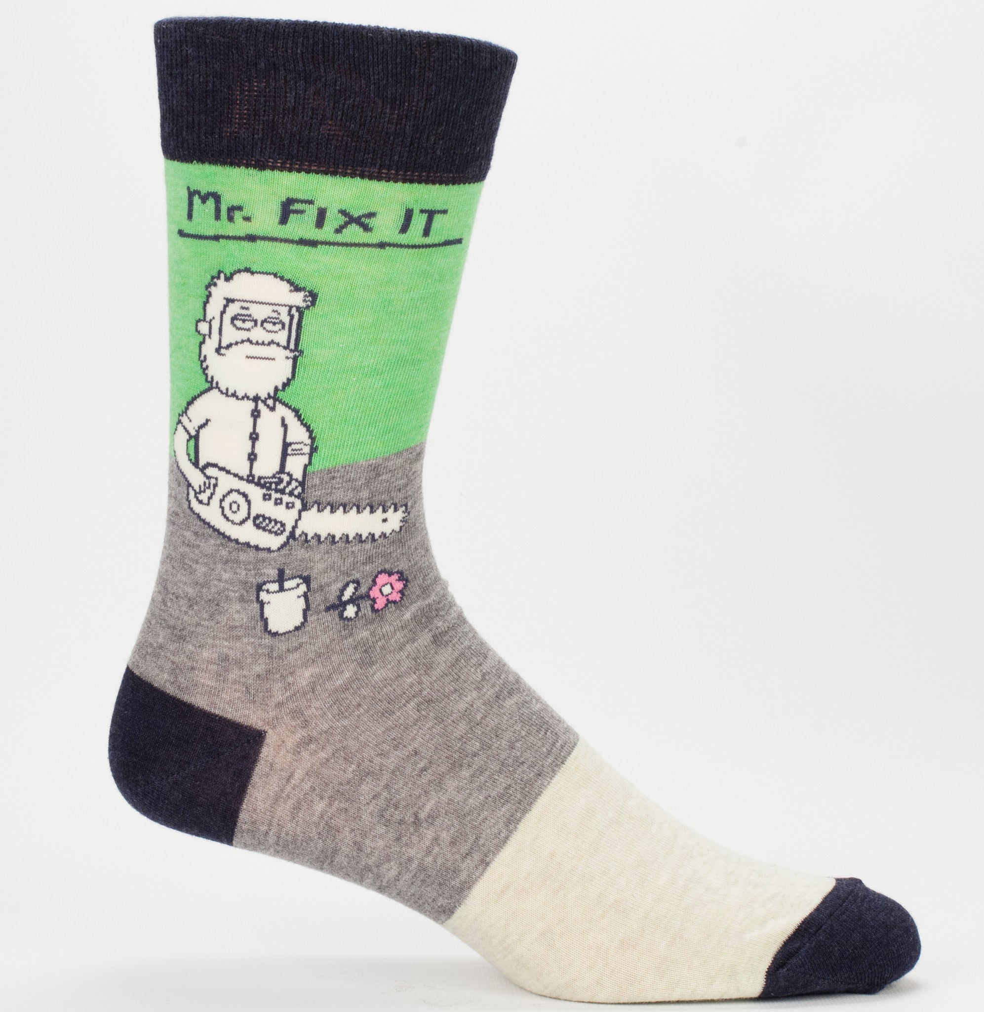 "BlueQ Men's Crew Socks: ""Mr Fix It"""