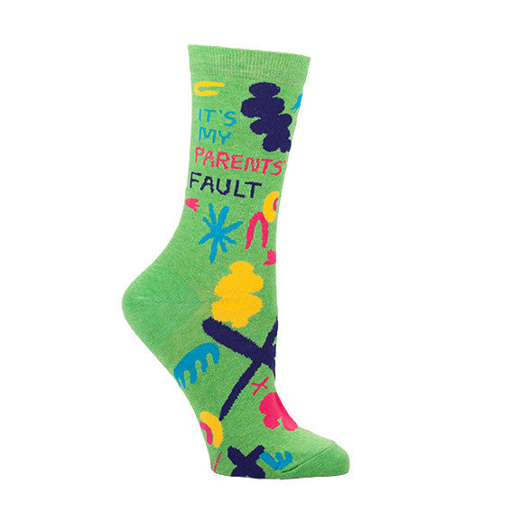 "BlueQ Women's Crew Socks ""It's My Parents Fault"""