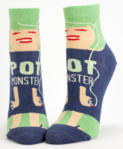 "Woman's novelty fun ankle sock with legend: ""Pot Monster"""