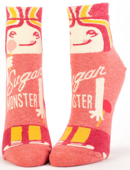 "Woman's novelty fun ankle sock with legend: ""Sugar Monster"""