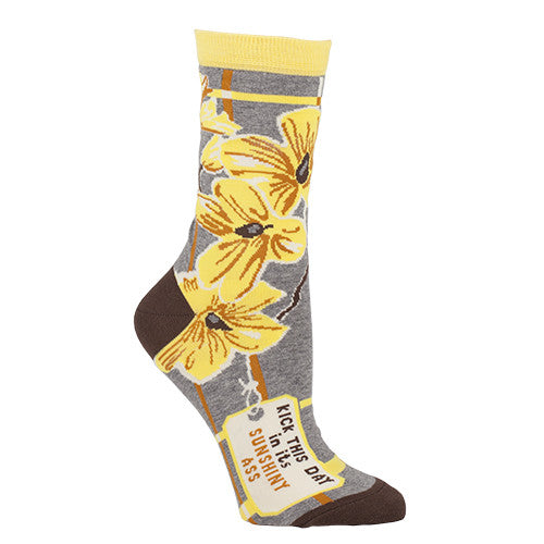 "BlueQ Women's Crew Socks ""Kick This Day In Its Sunshiny Ass"""