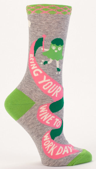"BlueQ Women's Crew Socks ""Bring Your Wine To Work Day"""