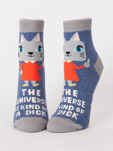 "Woman's novelty fun ankle sock with legend: ""The Universe Is Kind of a Dick"""