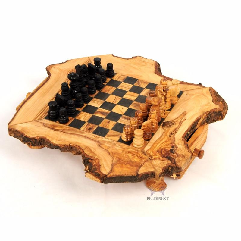 """Living Edge"" Olive Wood Chess Set with Storage Drawers"