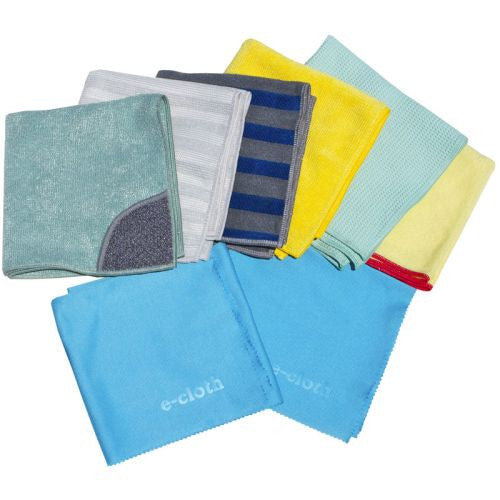 This is the bomb of home cleaning-8 clothes to do every job perfectly, and it is also the most economical way to purchase these microfiber cloths. Set contains a Kitchen Cloth, Bathroom Cloth. Range & Stovetop Cloth, Stainless Steel Cloth, Window Cloth, Dusting Cloth, and a two-towel Glass & Polishing Cloth Set.