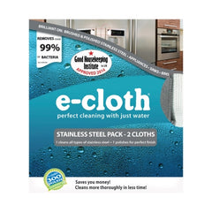 E-cloth Stainless Steel Cleaning pack with two microfiber cloths: one for cleaning and the other for polishing, just using water, no chemicals.
