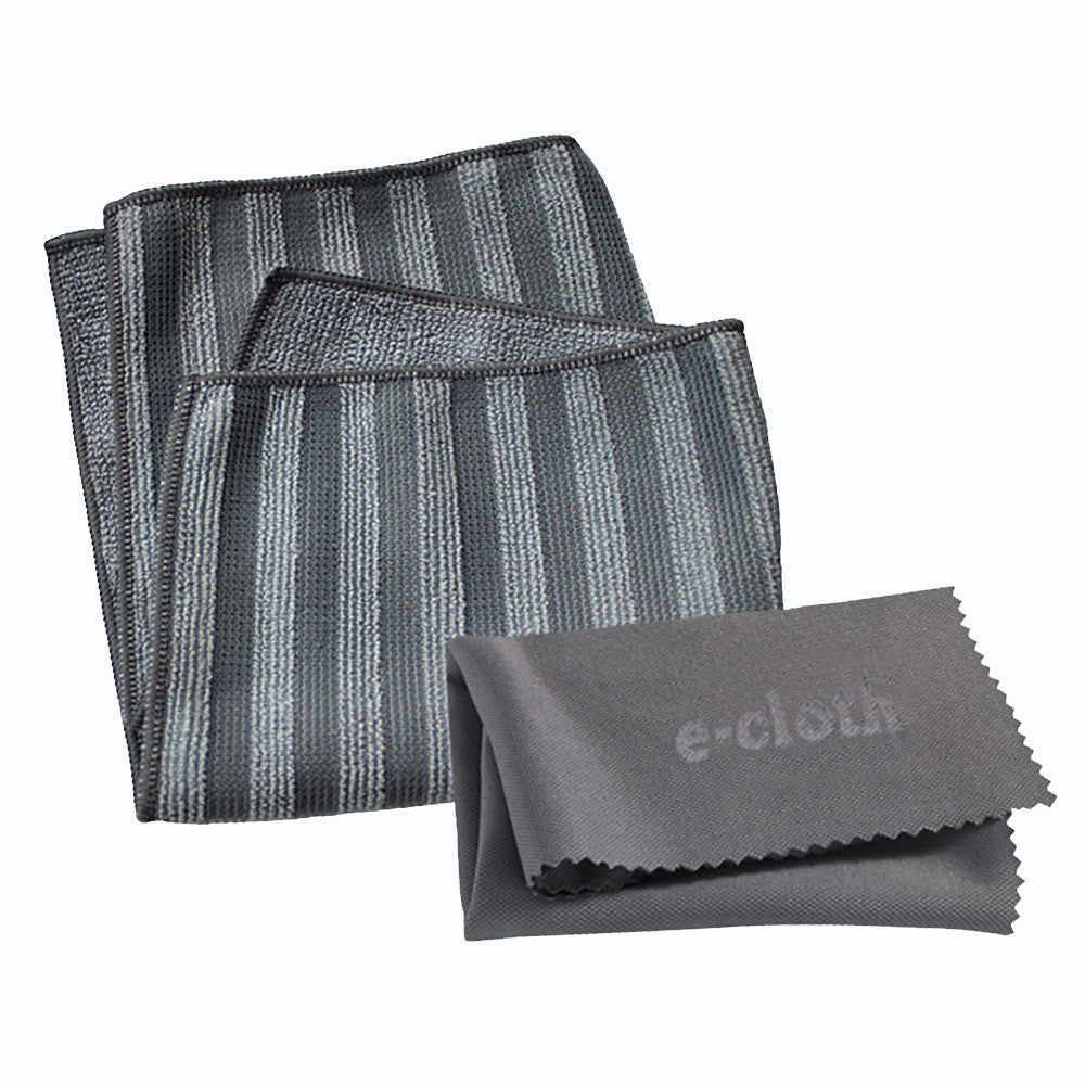 E-cloth Stainless Steel Cleaning pack contains two microfiber cloths: one for cleaning and the other for polishing, just using water, no chemicals.