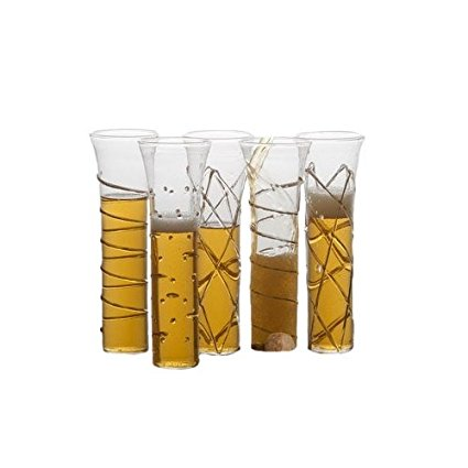 Razzle Dazzle Stemless Champagne Flutes Sparkled with Gold