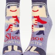 "Woman's novelty fun ankle sock with legend: ""Shoe Monster"""
