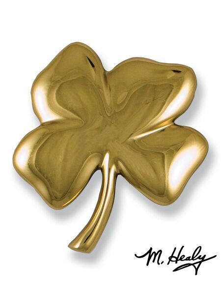 Michael Healy Door Knocker: Polished Brass Four Leaf Clover