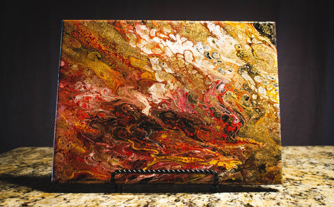 "Vicky Bauman: 9"" x 12"" Abstract Acrylic Pour on Stretched Canvas"