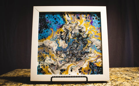 "Vicky Bauman: 12"" x 12"" Abstract Acrylic Pour in White Frame"