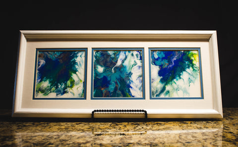 "Vicky Bauman: 9.5"" x 21""  Abstract Acrylic Pour in White Triptych Frame"