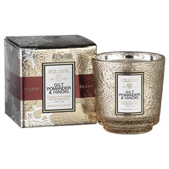 "Voluspa ""Gilt"" Embossed Glass Scented Candle w/Gift Box"
