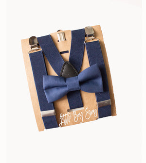 Navy Bow Tie Suspenders for Boys To Men