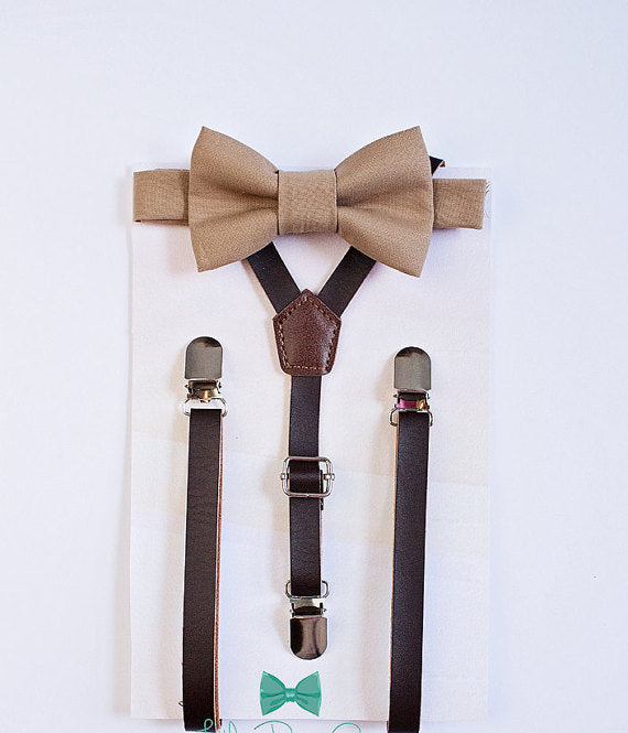 Beige Brown Boys Bow Tie Leather Suspenders