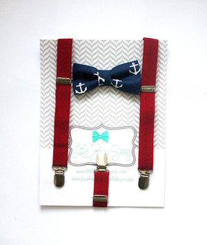 Navy Anchor Bow Tie And Red Suspenders