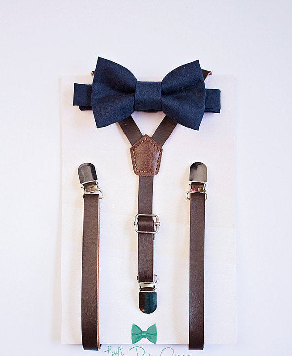 Leather Suspenders Navy Bow Tie