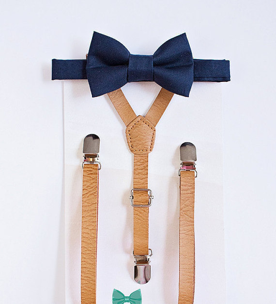 Boys Leather Suspender Navy Bow Tie