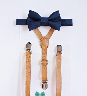 Boys Navy Bow Tie and Beige Leather Suspenders