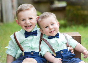 Boys Dark Brown Leather Suspenders and Navy Bow Tie