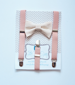 Boys Nude Bow Tie Blush Suspenders