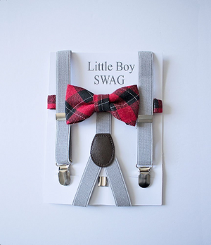Red Plaid Bow Tie And Light Gray Suspenders