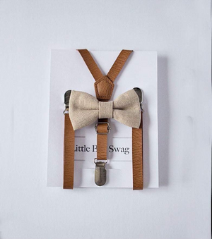 Burlap Bow Tie Leather Suspenders