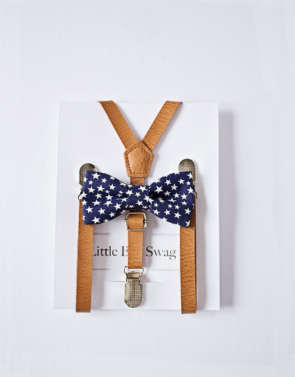 Navy Star Bow Tie Leather Suspenders