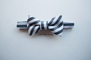 Boys Gray Bow Tie And Black Leather Suspenders