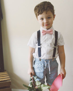 Blush Bow Tie And Navy Suspenders For Boys to Men