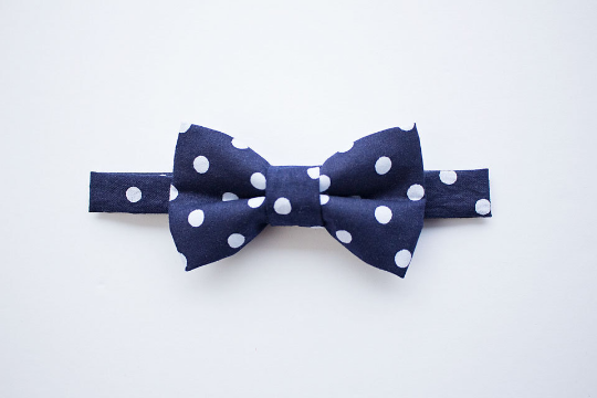 Navy Polka Dot Bow Tie With Tan Leather Suspenders