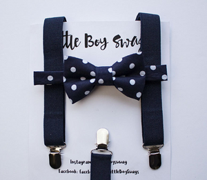 Navy Suspenders Navy Polka Dot Bow Tie for Boys