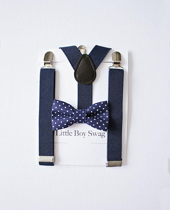 Navy Bow Tie And Navy Suspenders