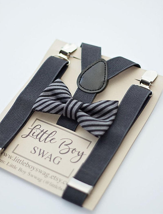 Charcoal Striped Bow Tie Charcoal Suspenders