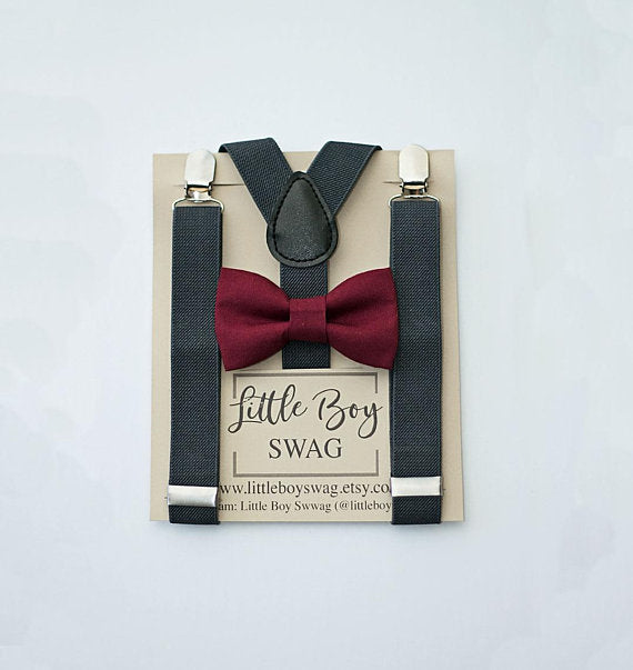 Ring Bearer Bow Tie and Suspenders