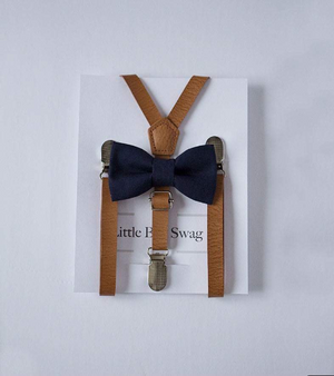 Navy Bow Tie Tan leather Suspenders For Boys