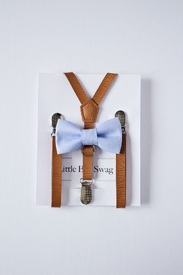 Dusty Blue Bow Tie Tan Leather Suspenders