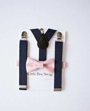 Dusty Rose Bow Tie And Navy Suspenders