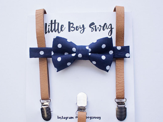 914eb0a92ba Navy Polka Dot Bow Tie With Tan Leather Suspenders
