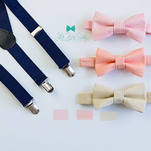 Navy Suspenders Nude Blush Peach Bow Tie