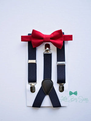 Navy Suspenders Red Bow Tie for Boys, Ring Bearer Suspenders, Boys Suits, Baby Boy Bow Tie, Boys Cake Smash Outfit, First Birthday Boy, Gift