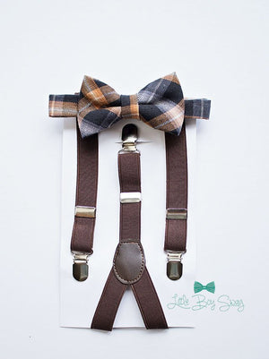 Burnt Orange Plaid Boys Bow Tie with Brown Suspender..Fall Wedding..Rustic Wedding..Ring Bearer Outfit..Baby Boy Bow Tie..Kids Suspenders